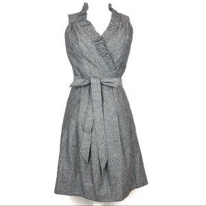 Allen B Gray Linen Cotton Sleeveless Ruffle Dress
